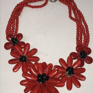 Madam Butterfly Coral Floral Necklace