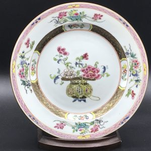 Chinese Famille Rose Yongzheng Hand Painted Porcelain Plate Basket Flowers