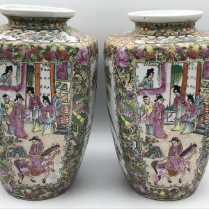 Very Large Pair Hand Painted Chinese Porcelain Vases