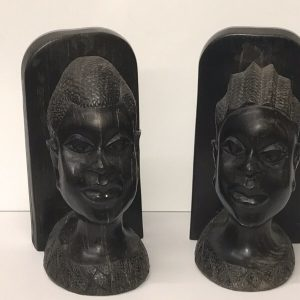 Pair Heavy Hand Carved Wood African Head Book Ends