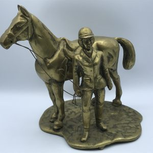 Very Heavy Vintage Solid Cast Brass Horse And Rider