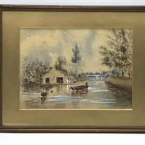 Victorian Watercolour Dated 1877 Richmond Bridge