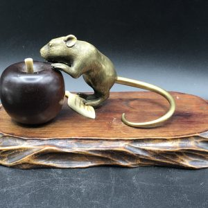 19th Century Japanese Bronze Mouse with Ivory Embellishments