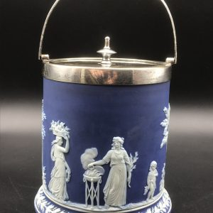 Antique 19th Century Wedgwood Blue & White Jasper Ware Biscuit barrel