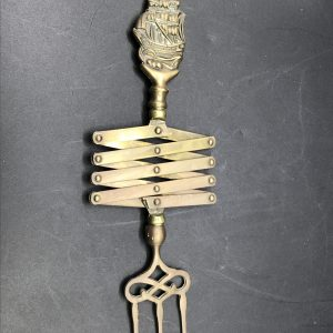 1930s Brass Extending Toasting Fork With Cantilever Design