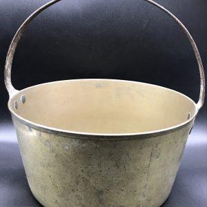 19th Century Antique Heavy Brass Jam Pot, Pan, Cauldron, Cooking Pot