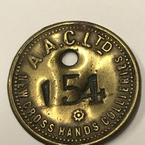Rare Brass Embossed Amalgamated Anthracite Collieries Ltd New Cross Hands Collieries Check No 154