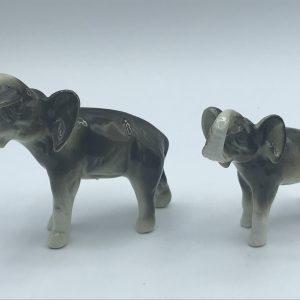 Two Czech Czechoslovakia Royal Dux Porcelain Elephants