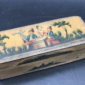 Antique 19th Century Hand Painted Paper Mache Box