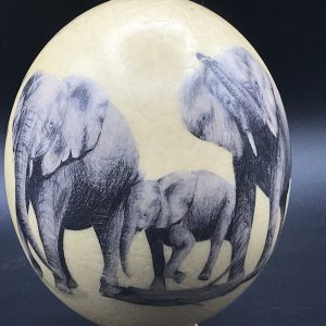 20th Century African Ostrich Egg Hand Painted With Elephants Artist Signed