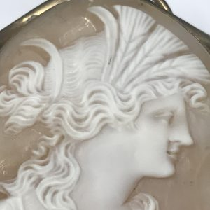 Antique Large Italian Carved Cameo Brooch Rolled Gold Mounts