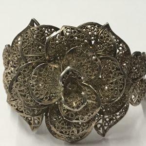 Large Heavy Sterling Silver Bangle Flower Head