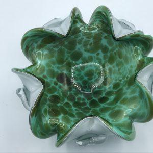 1950s – 1960s Murano Ruffled Glass Bowl Venetian Sommerso