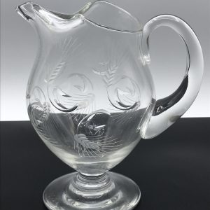 1950s Thomas Webb Crystal Pitcher / Jug Engraved Barley Pattern