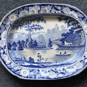 19th Century Blue and White Platter Wild Rose Swillington Bridge Pottery
