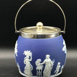 19th Century English Wedgwood Jasper Ware Blue & White Biscuit Barrel 1865