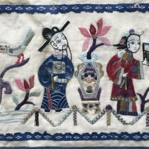 Antique Chinese Qiang Embroidered Silk Panel