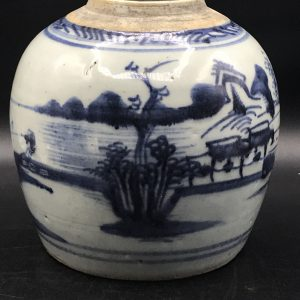 Mid 19th Century Chinese Export Porcelain Blue & White Ginger Jar