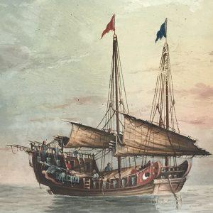 Original Watercolour Of Chinese Junk Boat