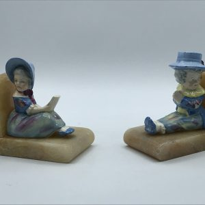 Pair Art Deco Alabaster and Porcelain figural Bookends