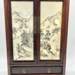 20th Century Hand Painted Chinese Porcelain Carved Wood Jewellery Box