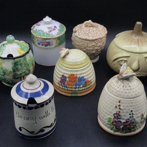 Group Collection 20th Century Ceramic Pottery Preserve Jar Pot