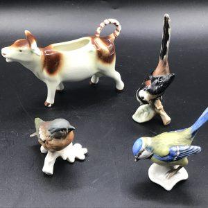 German Porcelain Goebel Birds and Cow Creamer
