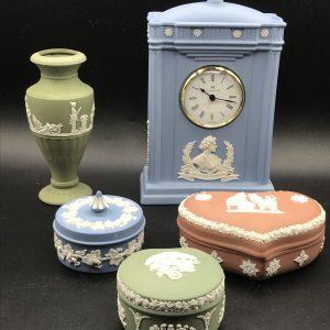 Group Wedgwood Jasper Ware Pottery Clock Vase Pots