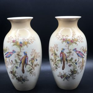 Pair Antique Crown Ducal Pheasant and Butterfly Pattern Vases
