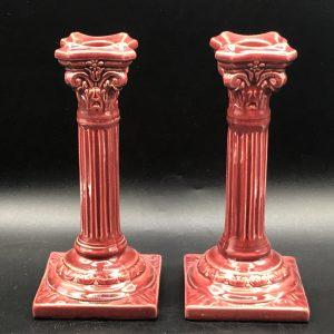 Pair English Burmantofts Pottery Candlesticks Circa 1900 Leeds Yorkshire