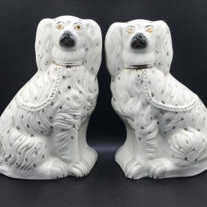 Pair Large Victorian Staffordshire Pottery Spaniels Dogs 19th Century