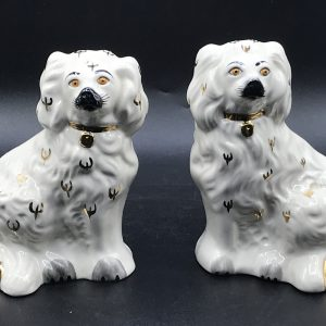 Pair English Royal Doulton Pottery Dogs Spaniels 1378-6