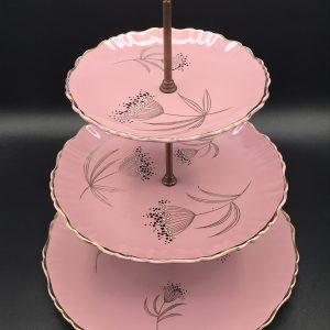 Vintage James Kent Old Foley Three Tier Cake Stand Ballerina