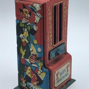 1960s Tin Plate Slot Machine Vending Chocolate Moneybox