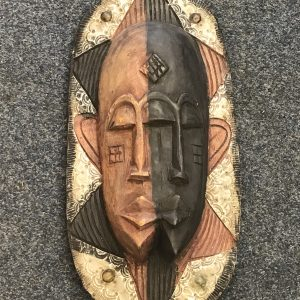 Carved Wood African Mask Mounted With Metal