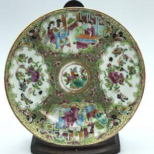 Chinese Porcelain Qing 19th c1850  Rose Mandarin Canton Plate