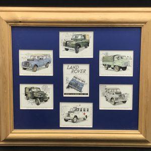 Framed Set Vintage Golden Era Land Rover Cards