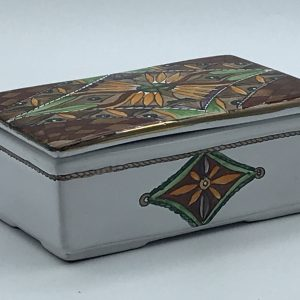 Italian Hand Painted Box and Cover Deruta Pottery