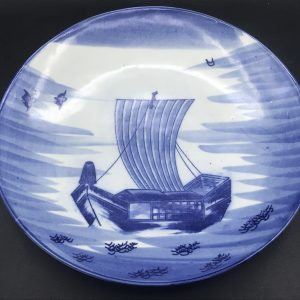 Large Hand Painted Chinese Porcelain Charger Depicting Junk