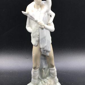 Large Spanish Porcelain Figurine Lladro Man With Deer On His Shoulder