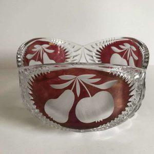 Large Beautiful Ruby Flashed Crystal Bowl Hofbauer