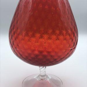 Mid Century Italian Empoli Glass Vase Red Dimpelled