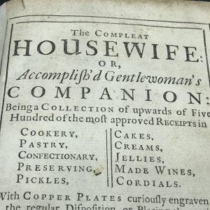 Original 18th Century Housewife Companion Cook Book 1730