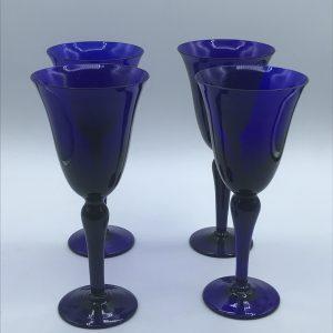 Set Four Vintage Hand Made Bristol Blue Wine Goblets