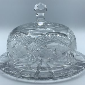 Very Large Heavy Cut Glass Crystal Cheese Dome & Base Dish